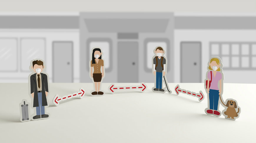 Grafika zalecająca społeczny dystans - czworo osób,pomiędzy nimi czerwone strzałki symbolizujące odległość.