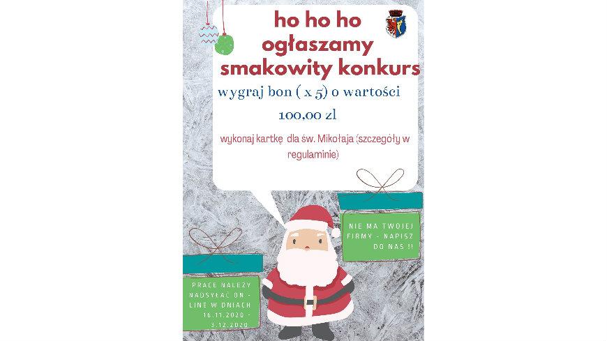 plakat z mikołajem, który ogłasza konkurs plastyczny na kartkę do św. mikołaja