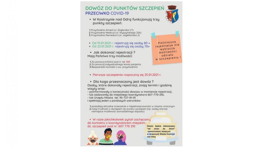Plakat promujący dowóz osób niepełnosprawnych oraz starszych do punktu szczepień.W razie jakichkolwiek pytań zachęcamy  do kontaktu z koordynatorem miejskim  ds. szczepień pod nr: 607 770 210