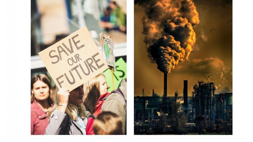 dwa zdjęcia: na jednym transparent: ocalić planetę , na drugim komin fabryczny, z którego wydobywa się ciemny dym