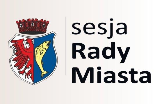 """grafika przedstawiająca herb miasta Kostrzyn nad Odrą i napis """"sesja rady miasta"""""""