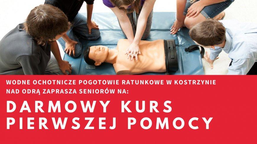 Plakat informacyjny dotyczący darmowego kursu pierwszej pomocy.