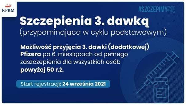 Napisy na tle: Szczepienia 3. dawką (przypominającą w cyku podstawowym). Możliwość przyjęcia 3 dawki (dodatkowej) Pfizera po 6.miesiącach od pełnego zaszczepienia dla wszystkich osób powyżej 50 r..z Start rejestracji 24 września 2021.